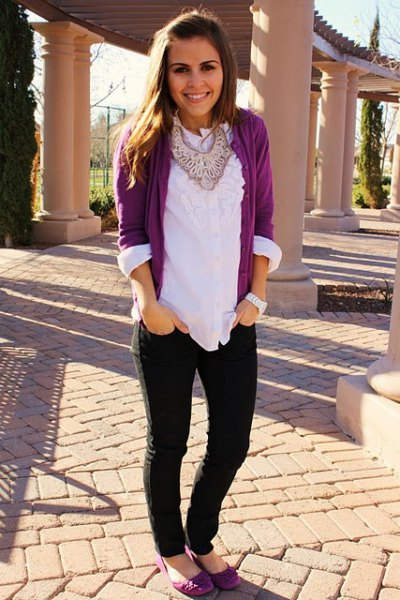grey cardigan with white ruffle neckline blouse