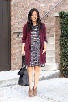 grey long cardigan with black and white tribal printed mini shift dress