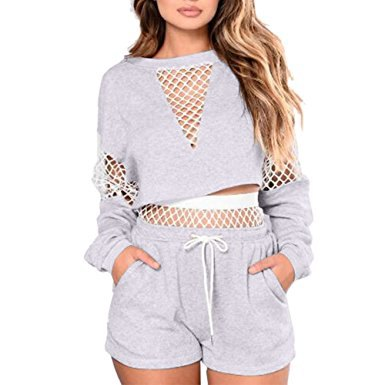 grey long sleeve mesh crop top with matching cotton jogger shorts