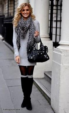 grey ribbed sweater dress with leopard print knit scarf