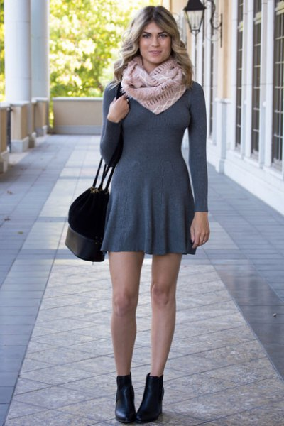 grey thin form fitting fit and flare sweater dress