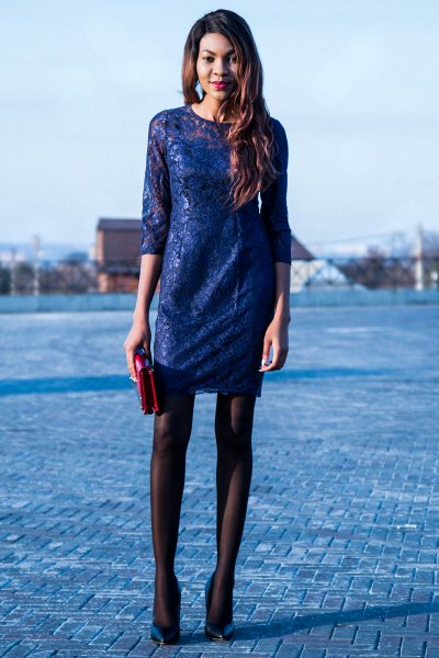 half sleeve mini dress with black stockings and navy heels
