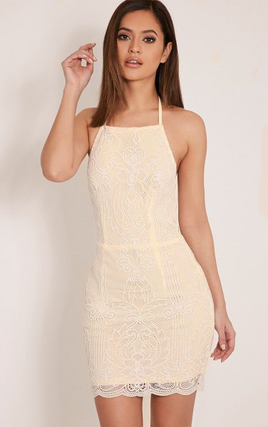 halter fit and flare mini lace dress