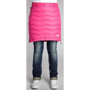hot pink down skirt with greyish blue cuffed jeans