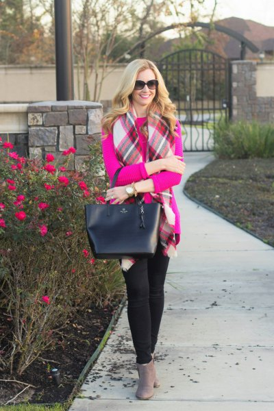 hot pink sweater with white and red plaid scarf