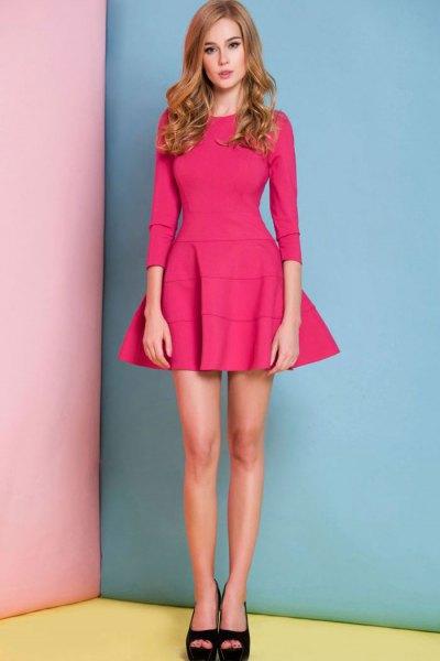 hot pink three quarter sleeve fit and flare mini dress
