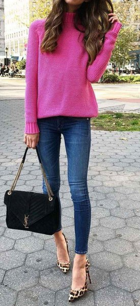 hot pink turtleneck knit sweater with leopard print heels