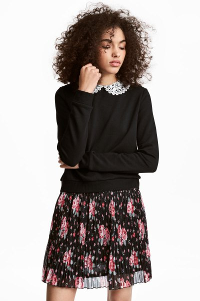 lace collared black sweatshirt and chiffon mini skirt
