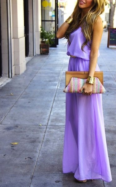 lavendar gathered waist maxi flared dress