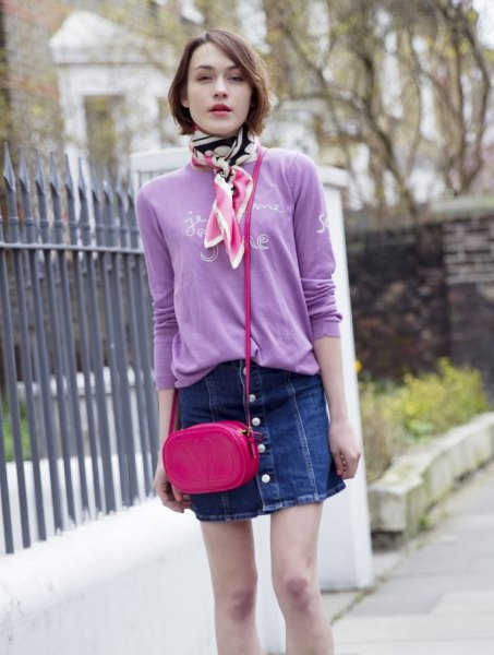 lavender printed sweater with denim button front skirt
