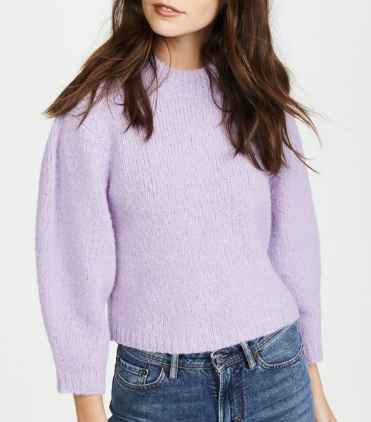lavender short sweater with mid waisted jeans