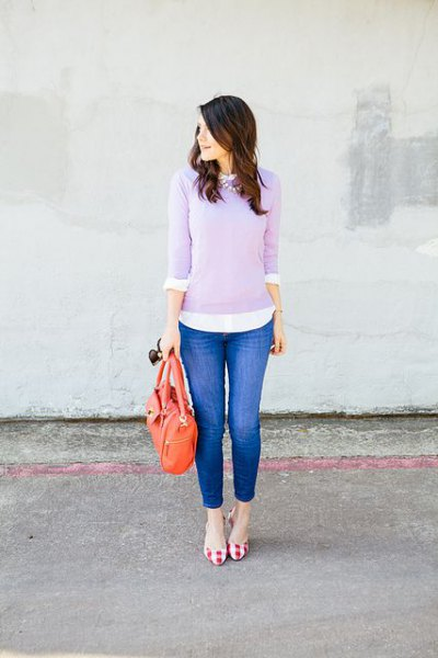 lavender sweater over white button up shirt