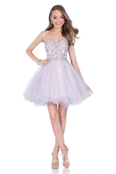 lavender sweetheart neckline fit and flare tulle mini dress