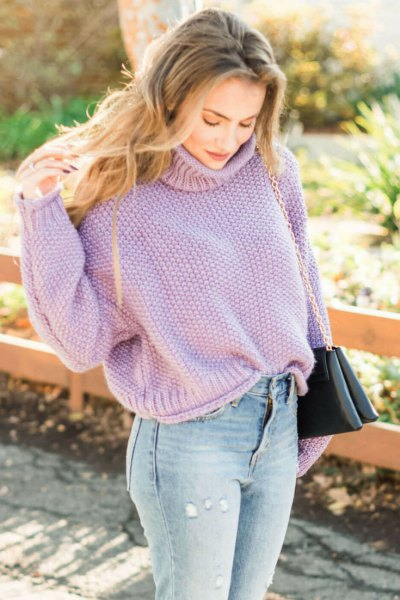 lavender turtleneck chunky sweater with light blue jeans