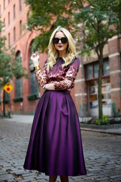 leopard print button up shirt with purple silk midi skirt