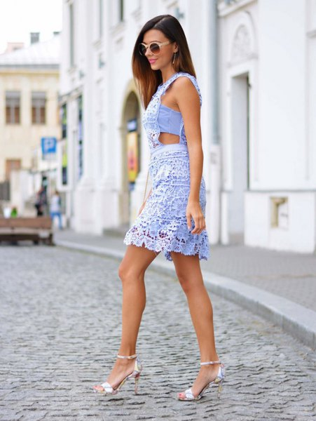 light blue cutout side mini lace dress