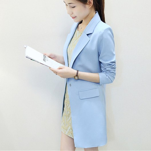 light blue longline blazer with blush pink lace mini dress