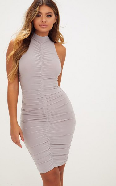 light grey mock neck ruched bodycon mini dress