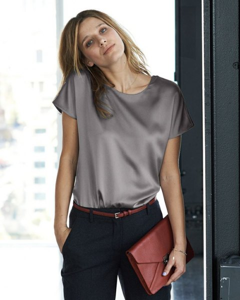 light grey short sleeve silk top with black chinos