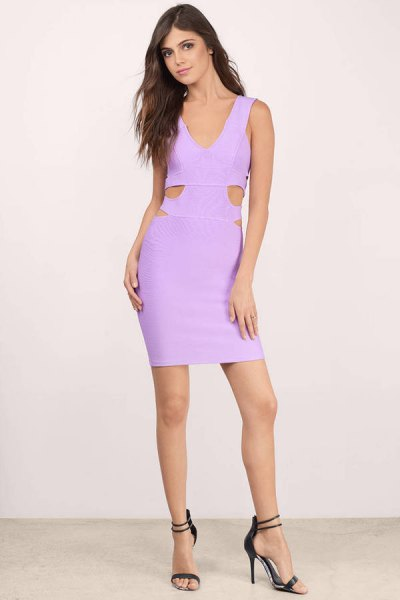light purple bodycon mini dress with cutout details