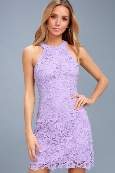 light purple halter neck sheath mini lace dress