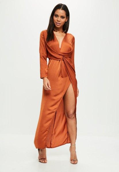 long sleeve deep v neck orange wrap dress