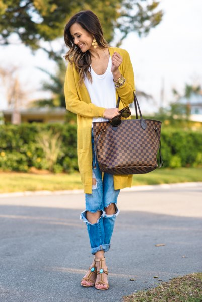 longline mustard cardigan with ripped boyfriend jeans