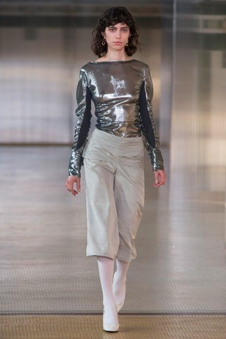 metallic blouse with grey cropped wide leg pants