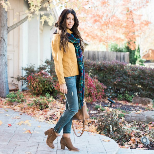 mock neck sweater with long navy and green plaid scarf