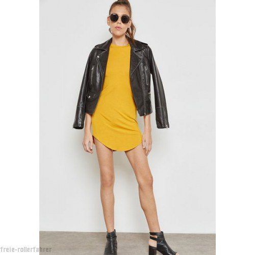 mustard t shirt dress with black leather jacket