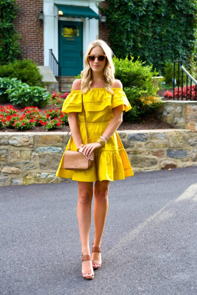 mustard yellow off the shoulder ruffle fit and flare mini dress