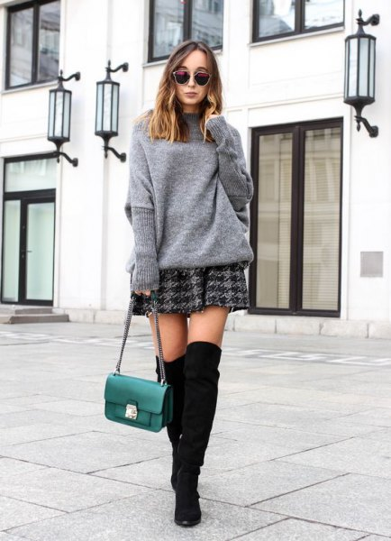 grey sweater with plaid skater skirt
