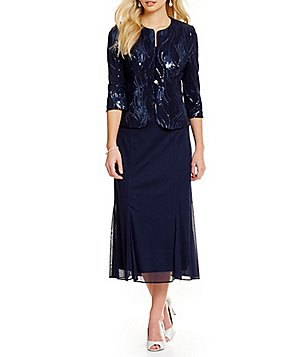 navy and black sequin evening jacket with chiffon midi dress