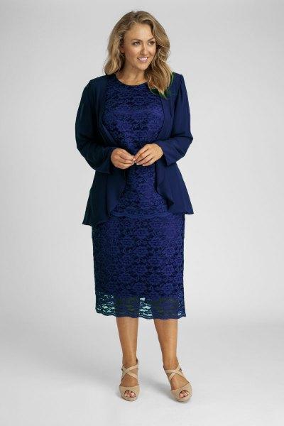 navy blazer with blue midi lace dress