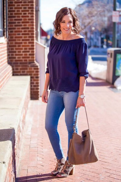navy blue boat neck top with pale pink heeled sandals