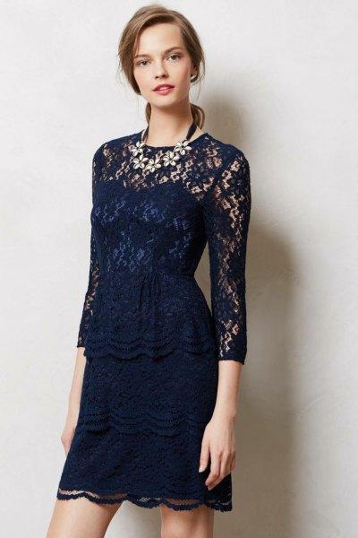 navy blue three quarter sleeve sheath mini lace dress