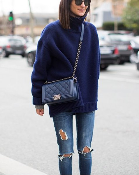 navy blue turtleneck sweater with ripped skinny jeans