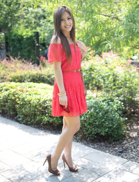 off the shoulder belted lace skater dress