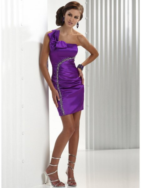 one shoulder ruched bodycon mini silk dress