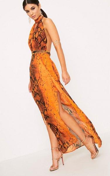 orange and black halter neck backless maxi silk dress