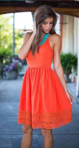 orange and blue gathered waist lace hem flared dress