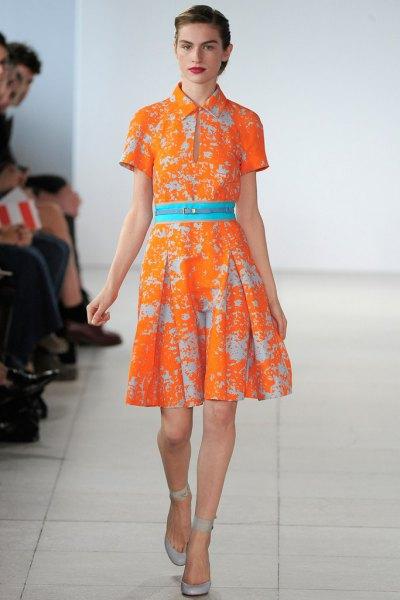 orange and light blue knee length flared collar dress