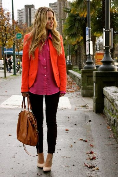 orange blazer with blush oversized button up shirt