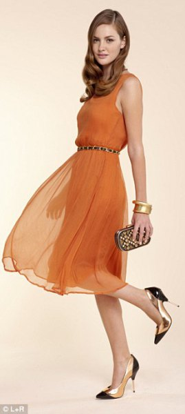 orange chiffon belted tank dress with pointed toe heels