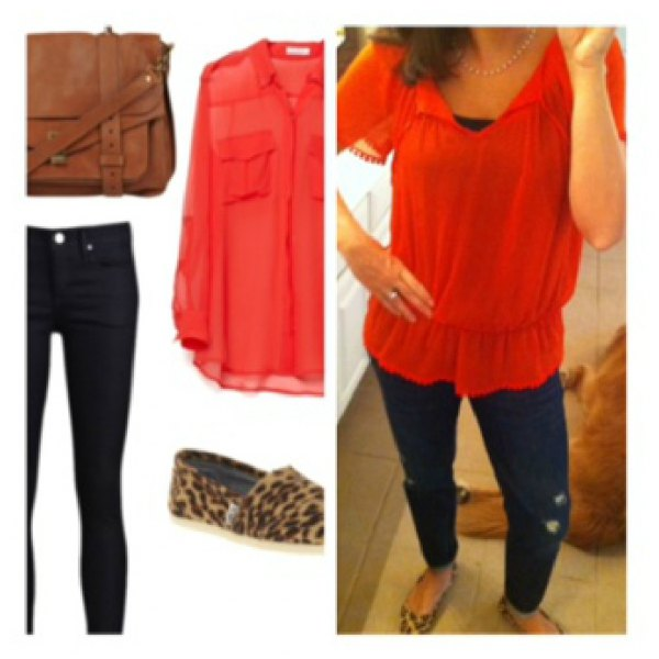 orange peplum blouse with blue skinny jeans