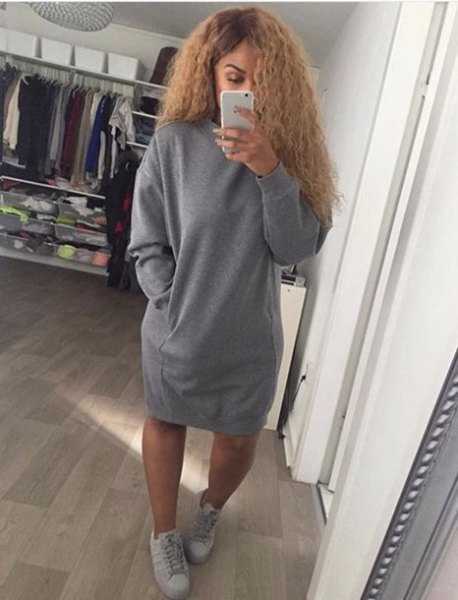 oversized sweater dress with grey sneakers