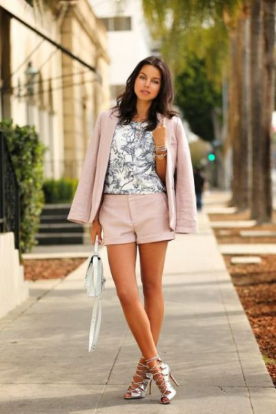 pale pink shorts with matching blazer and white printed top