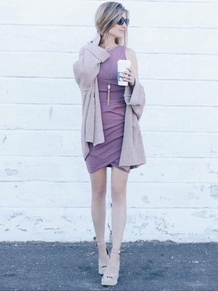 pale purple cardigan with matching sleeveless shift mini tulip dress