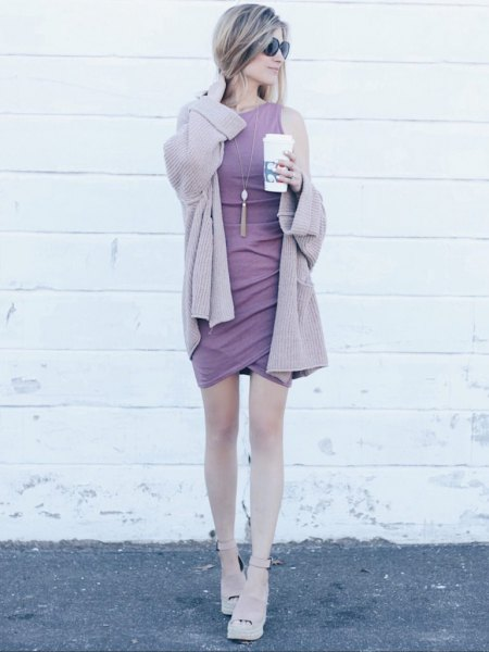 pale purple cardigan with matching sleeveless shift mini tulip dress