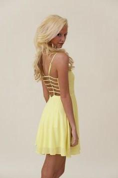 pale yellow backless mini chiffon dress